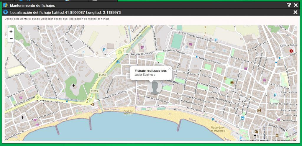 El programa permite registrar y visualizar la ubicación de los fichajes realizados por los empleados mediante dispositivos con GPS integrado. (Para los que no tienen GPS también pero es menos fiable)